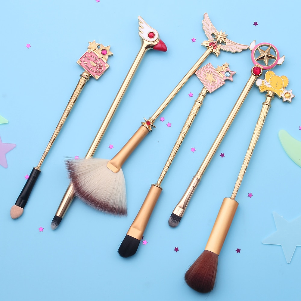 Envío Gratis Sakura Cardcaptor brochas de maquillaje Set Detail Brush 6 uds sombra de ojos mezcla profesional brocha de sombra de ojos