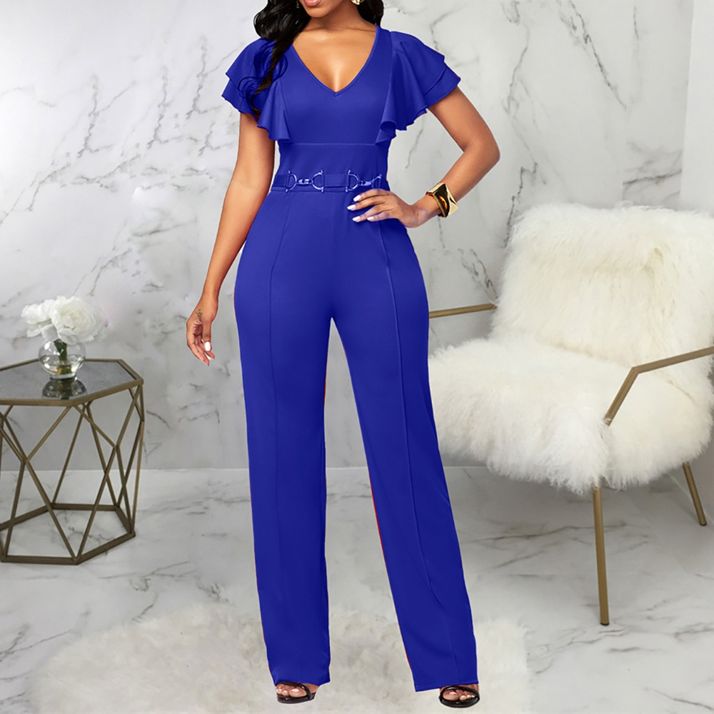 office pencil skirt with decorative v neck African Women Jumpsuit Autumn Ruffled Sleeve V-Neck Skinny One Piece Outfits Long Rompers Office Party Pencil Pants Jumpsuits