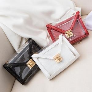 Crocodile Pattern Jelly Women's Shoulder Bag 2021Summer Autumn Bags Transparent Handbag Personality Lock Chain Small Square Bag
