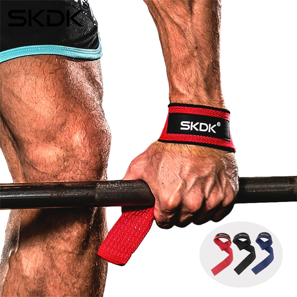 2pcs weight lifting straps over 2 3mm thick strong cotton gym padded hand bar grip with wrist support weight lifting gloves SKDK Weightlifting Gym Anti-Slip Sport Safety Wrist Straps Weight lifting Wrist Support Crossfit Hand Grips Fitness Bodybuilding