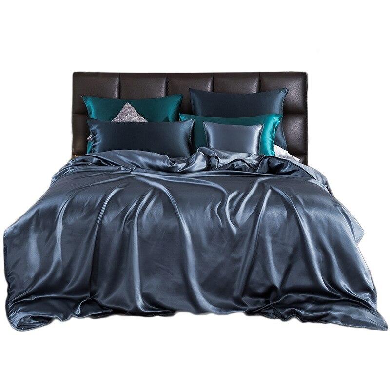 Svilelg الراقية الحرير الخالص 4 قطع مجموعة 22 مومي 100% التوت الحرير الثقيلة لحاف من الحرير غطاء غطاء سرير بلون بسيط