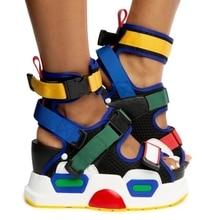 SWONCO sandales compensées colorées chaussures femmes 2020 nouvelle mode féminine cheville ceinture sandales plate-forme sur chaussures à talons hauts épais
