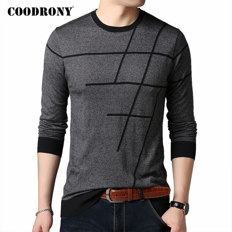 COODRONY Brand Sweater Men Spring Autumn O-Neck Pull Homme Knitwear Cotton Wool Pullover Clothes Striped Mens Sweaters C1044