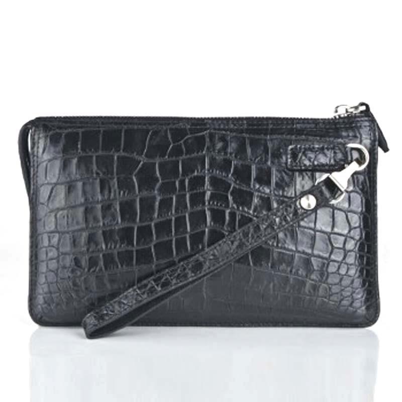 weitasi Crocodile bag  man hand bag fashion Crocodile leather  capacity business casual without stitching black male clutch bag