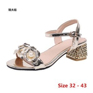 Summer Pumps Sexy Gladiator Sandals Shoes Women Low Med Heels Open Toe Sandal Ankle Strap Pump Shoes Small Big Size 32 - 43