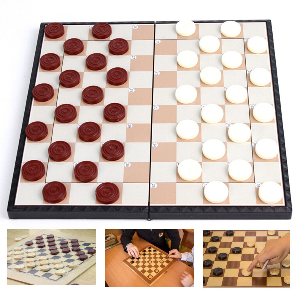 Draughts Checkers Folding Board Game Set Portable Children Educational Games for Kids Adults ntelligence Games Entertainm