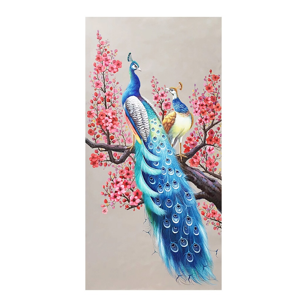 Flor peacks, ciruela, flor, diamante, pintura, Versión Vertical, taladro completo, Animal DIY, mosaico bordado 5D, punto de cruz