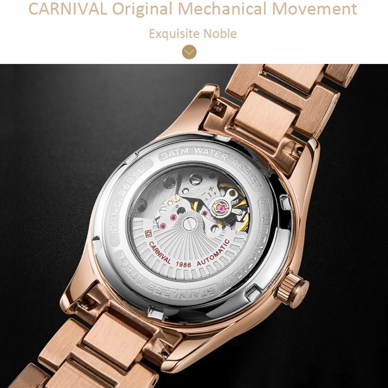 CARNIVAL New Casual Elegant Temperament Calendar Ladies Luminous Waterproof Stainless Steel Strap Automatic Mechanical Watches enlarge
