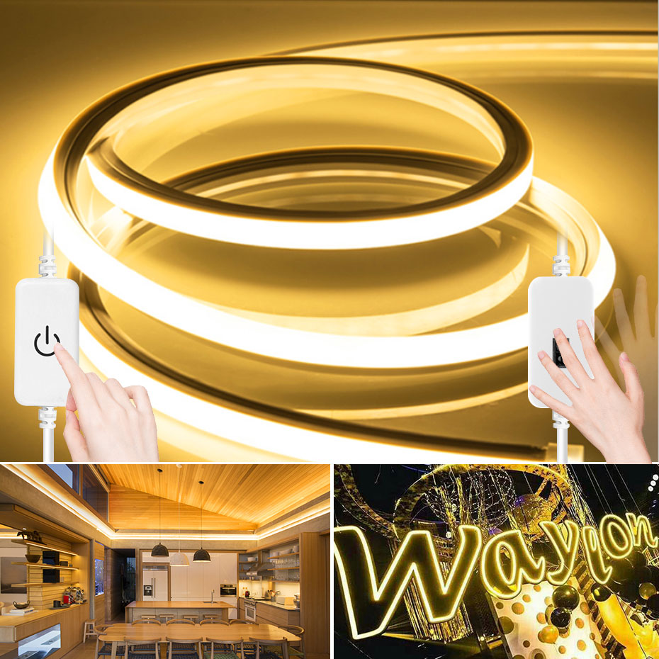 LED Strip Light 2835SMD DC12V Hand Sweep Switch Flexible Neon Rope Lights IP67 Dimmable Tape Ribbon For DIY Home Decoration