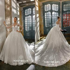 2020 Luxury  Wedding Dresses Sequins A Line Lace Applique Long Sleeve Country Wedding Gowns Custom Made Vintage Vestido De Noiva