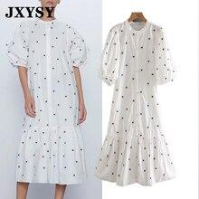 فستان نسائي صيفي واسع من JXYSY بتصميم إنجليزي عتيق مطرز بأكمام واسعة وأكمام واسعة بتصميم عتيق من vestidos de fiesta de noche vestidos