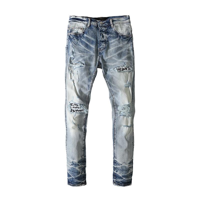 American Famous Brand AMR Patch Ripped Jeans Sweatpants Men Trousers Men's Pants Streetwear Techwear Men's Clothing