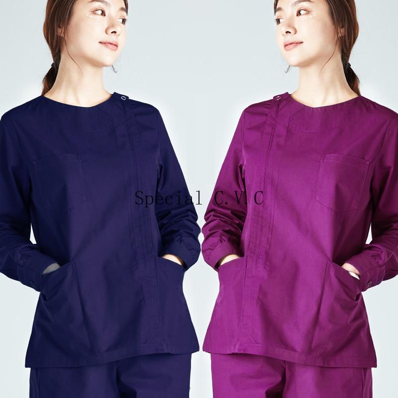 Vrouwen Scrub Top Rits Opening Lange Mouwen Slim Fitting Jas Grote Zakken Uniformen Ronde Kraag Korte Jas Werkkleding Kleding