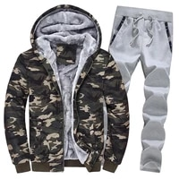 autumn and winter new men camouflage sweater suit men british casual camouflage sportswear men loose jacket two piece suit