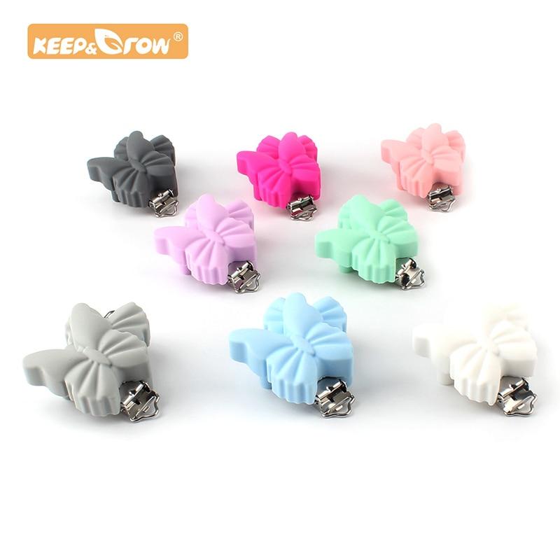 Clip para chupete de mariposa Keep & Grow de 10 Uds., mordedor de silicona, accesorios de metal para roedores, COLLAR COLGANTE para dentición de bebé DIY