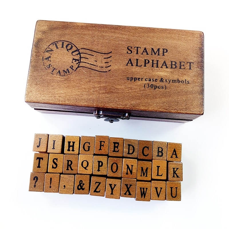 30 Pcs/set Cute Uppercase&Lowercase Letter  Wood Rubber Stamps Set With Wooden Box For Teaching And Play