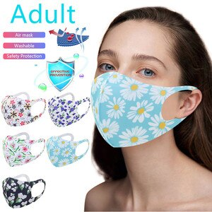 маска на рот Adult Woemn Fashion Ice Silk Mask 3D Flower Print маска Mask Antivirus Face Mask Washable Earloop маска для ли