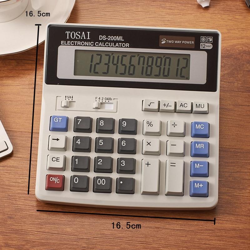 Calculadora de 12 dígitos, botón grande, herramientas de profesor de contabilidad de negocios financiera, botón grande