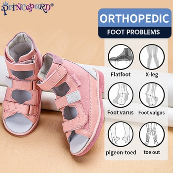 Princepard Summer Kids Orthopedic Sandals Boys Girls Genuine Leather Footwear Toddler Walking Correcting Shoes with Arch Support