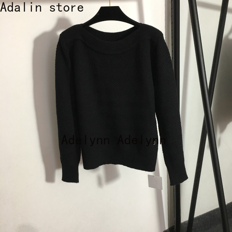 high quality autumn winter new fashion women's one line neck solid color versatile long sleeve sweater sweater woman sweaters enlarge