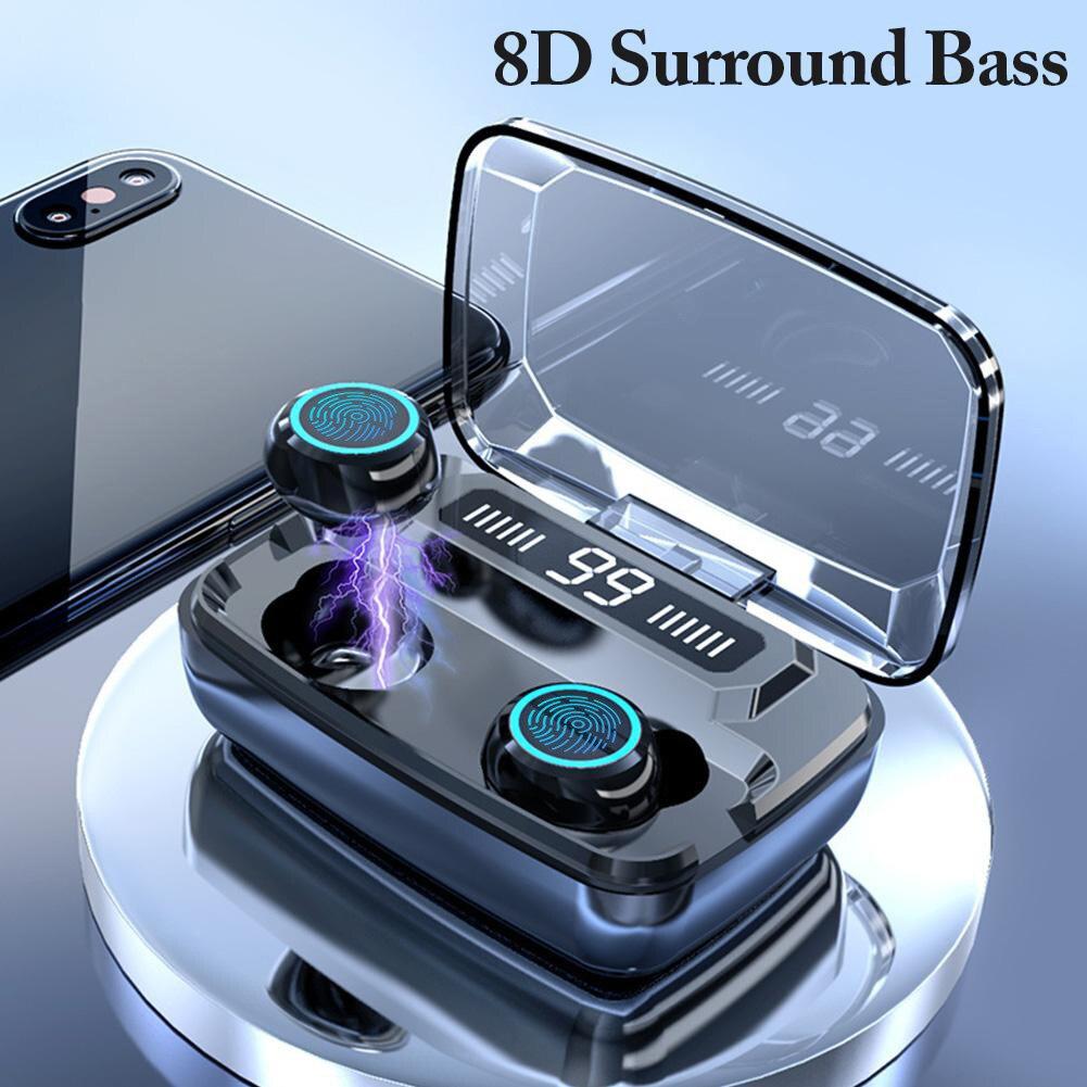 Wireless Earphones Bluetooth V5.0 M11 TWS Bluetooth 5.0 In-ear earphone Noise reduction HiFi IPX7 Waterproof 3300mAh Power Bank