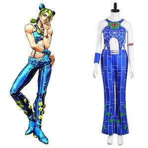 Anime JoJo Bizarre Adventure Cosplay Costume Jolyne Cujoh Cosplay Costume Blue Full Sets For Women Costume