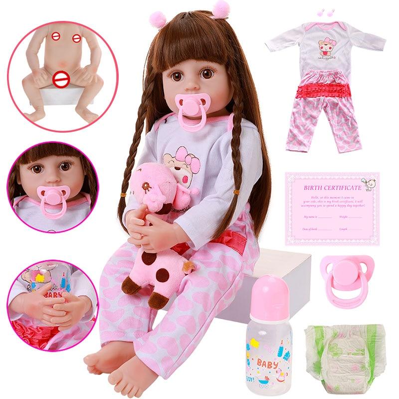 56CM Full Body Silicone Reborn Baby Doll Toy For Girl 22 Inch Newborn Princess Bebe Bathe Toy Birthd