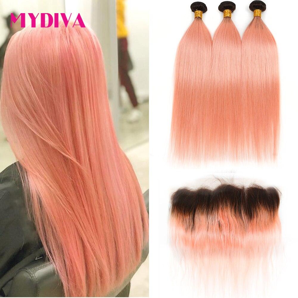 وصلات شعر برازيلية طبيعية ، وصلات شعر بشري ، جودة ريمي ، جذور داكنة ، لون وردي ، 1B/وردي ، مع أمامي
