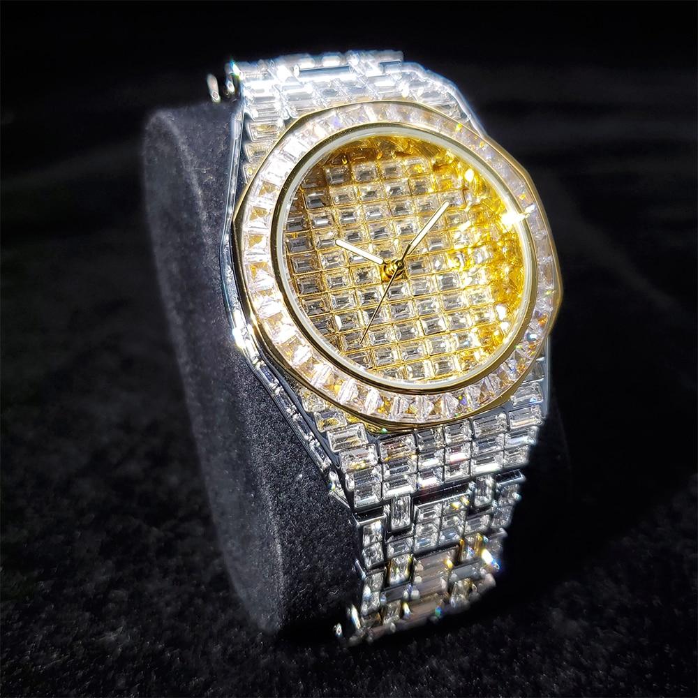 Hip Hop MISSFOX Audemars Iced Out Watch Men Gold Baguette Diamond Steel Strap Mens Watches Luxury Brand Rado Quartz Wristwatches enlarge