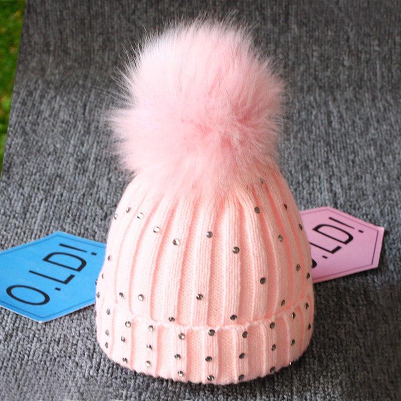 Cute Pompom Newborn Baby Hat Cap Knitted Warm Winter Hats For Kids Rhinestone Baby Girl Boy Hat Beanie Soft Toddler Hat Bonnet