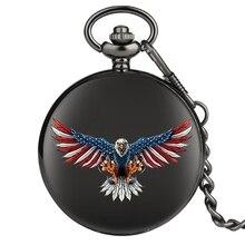 الوافدين الجدد الولايات المتحدة موضوع ساعة جيب كوارتز الكلاسيكية الأمريكية العلم النسر قلادة قلادة الساعات للرجال النساء دروبشيب