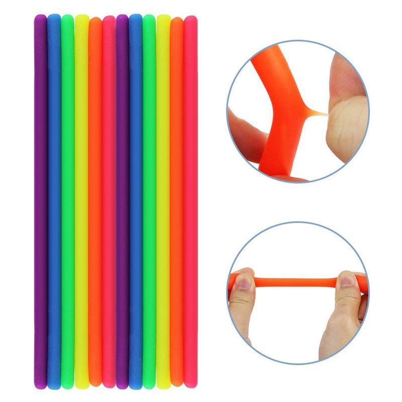 12PCS Big Soft Anti Stress Rope Toys Fidget Noodle Stretch/Wrap/Squeeze Toy Neon slings DIY Hand-knit Rope Decompression Toy enlarge