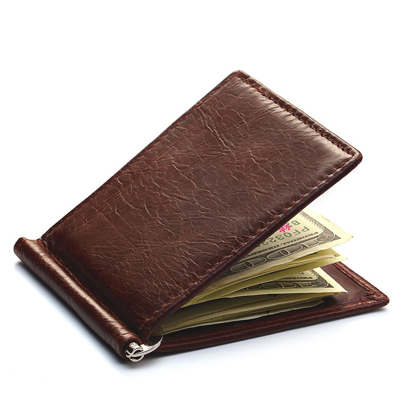 Genuine Leather Men's Vintage Money Clip Male Bifold Purse Simple Billfold Wallet Men Clamp Slim Cas
