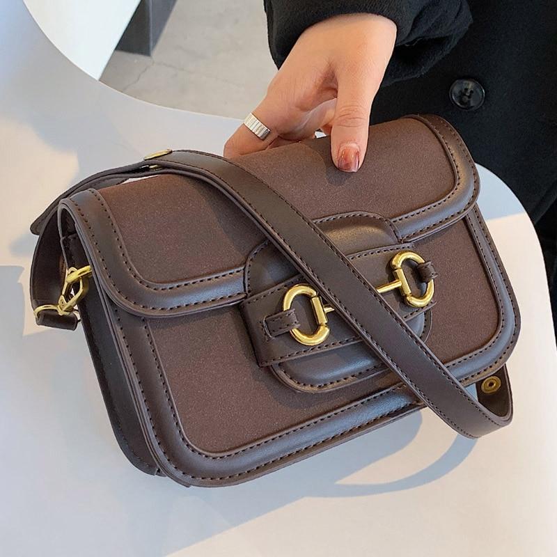 2021 New Matte PU Leather Small Saddle Bag Women Branded Designer Shoulder Crossbody Bags Lady Retro Trending Handbags And Purse