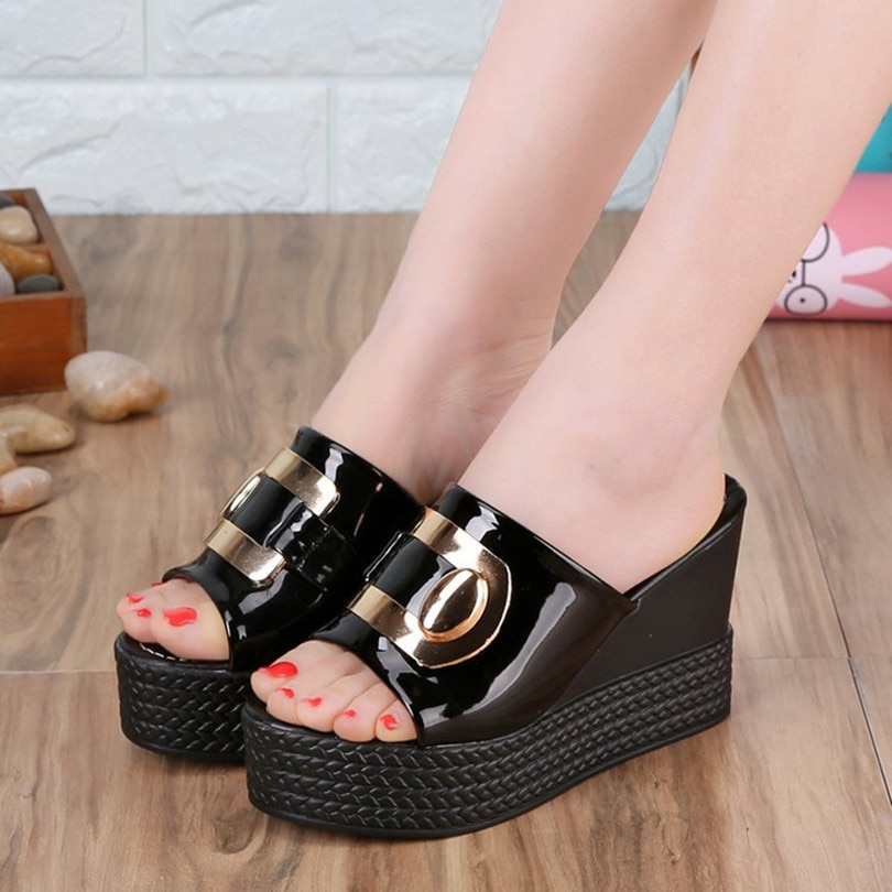 Summer Womans Slippers Peep-toe Wedges Thick Platform Solid Outside Ladies Sandals Non-slip Super High (8cm-up for Womens Slides