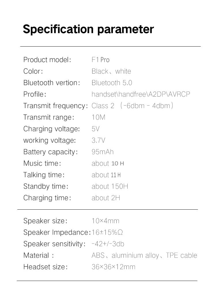 FineBlue F1 Wireless Bluetooth V5.0 Wear Clip Earphone for Smartphone