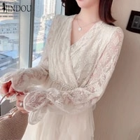 2020 new arrival fashion elegant fairy dress mesh lace patched layered lace cake dress