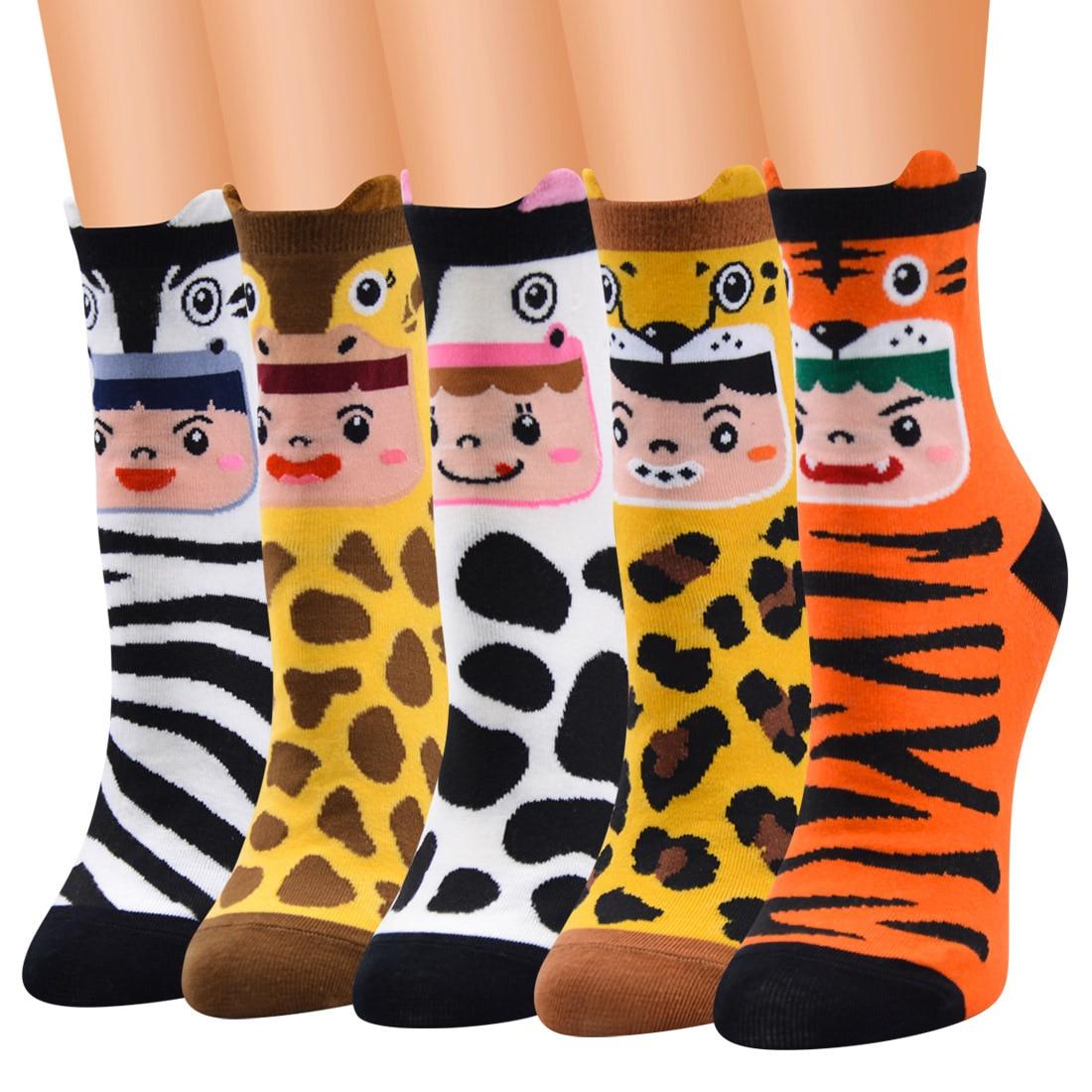 Latest Fashion Trend Women Low Tube Animal Pattern Zebra Leopard Cotton Socks Girls