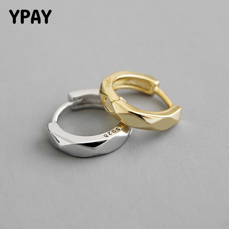 YPAY 1 pieza Plata de Ley 925 100% auténtica pendientes de aro para dama Corea INS rombos círculo redondo pequeño aros joyería fina YME572