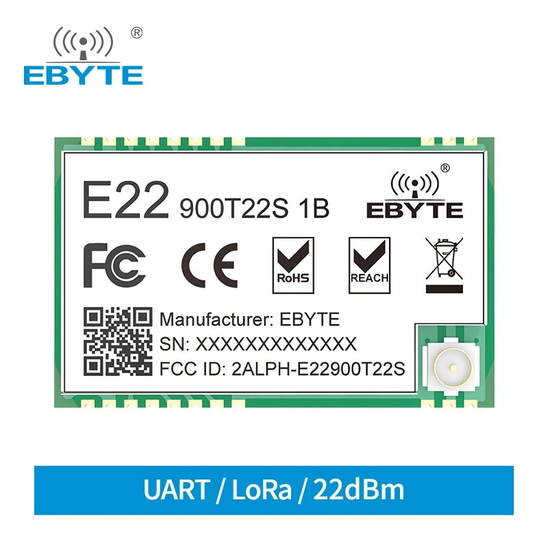 SX1262 E22-900T22S1B 915MHz SMD UART Wireless Transmitter and Receiver SMD RF Module RSSI Net Working Transceiver IPEX Antenna