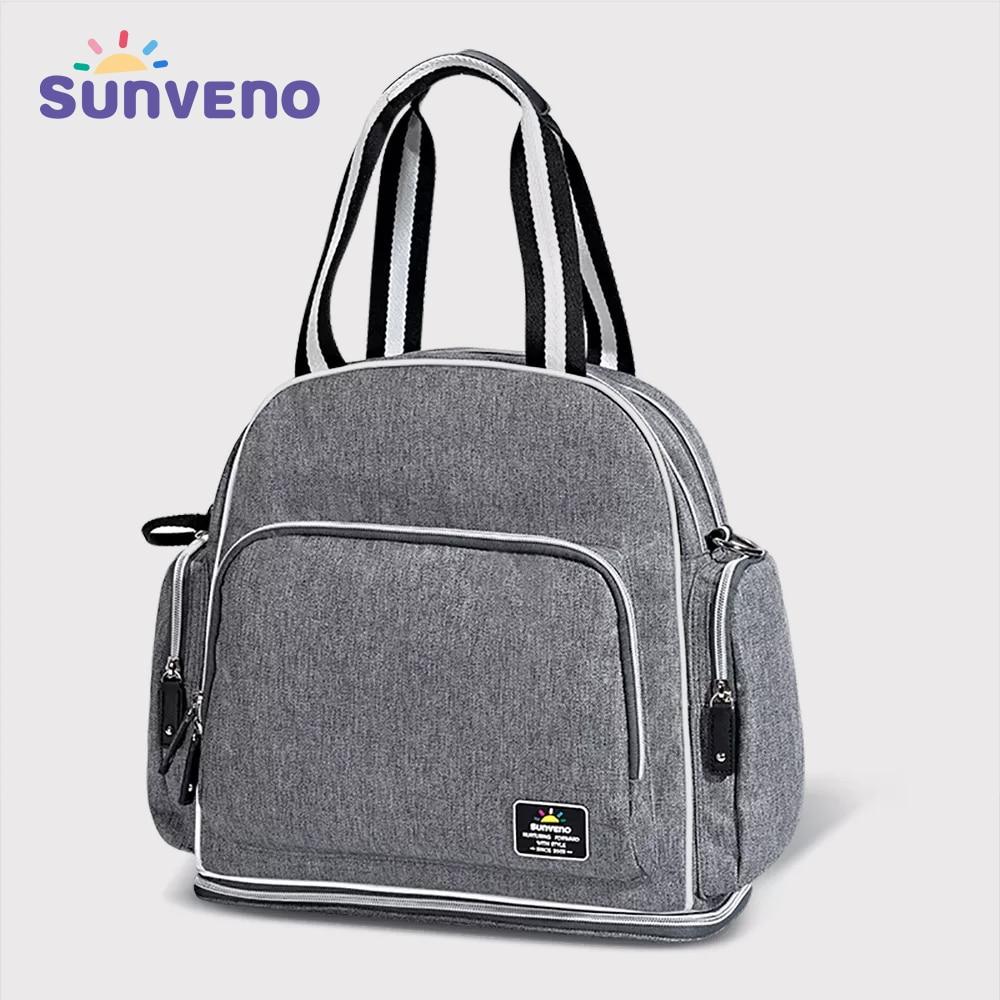 Sunveno موضة الطفل حقيبة العلامة التجارية حقيبة عربة أطفال الأمومة حفاضات حقيبة سعة كبيرة حقيبة السفر للأم بولسا material nidade