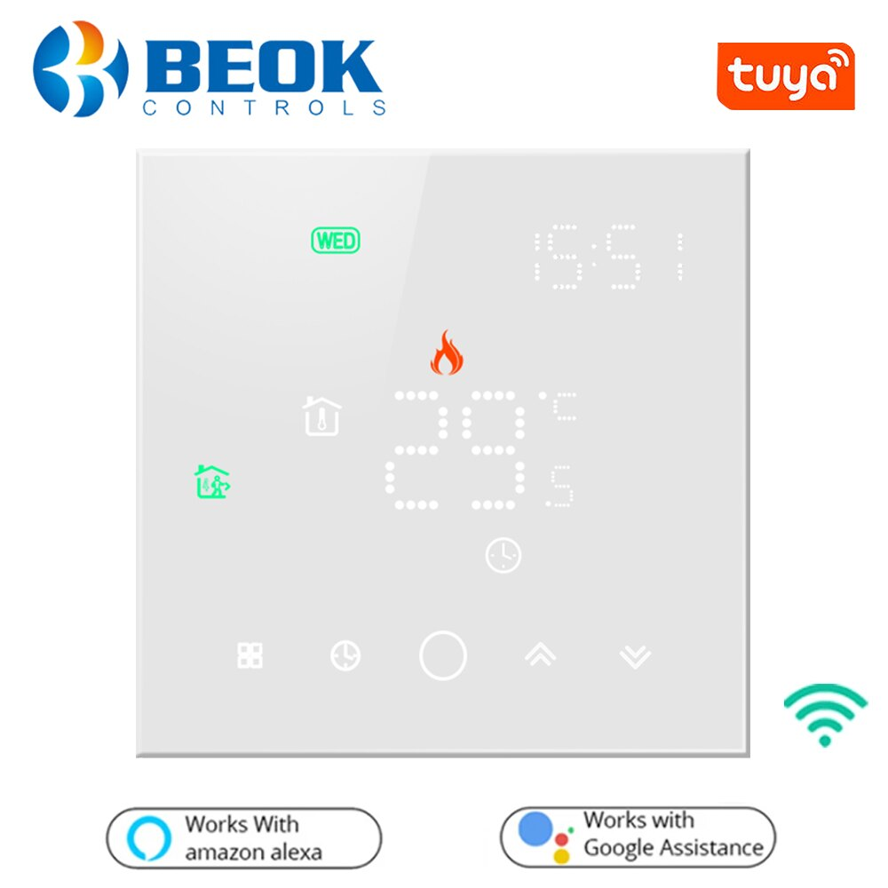 Beok Tuya Smart Life Wifi Thermostat for Electric/Water Floor Heating Home Temperature Controller Work with Alexa Google Home