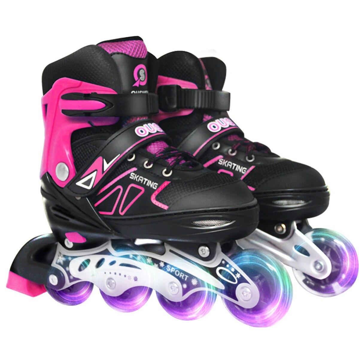 Регулируемые роликовые коньки, профессиональные слаломы, Взрослые роликовые коньки, сдвижные свободные коньки для кроссовок, однотонные