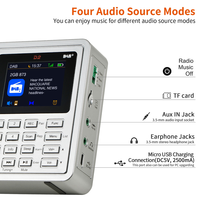 GTMEDIA D2 Portable DAB Radio Digital FM Radio Bluetooth Stereo Speaker MP3 Recording Earphone USB Rechargeable Alarm Clock enlarge