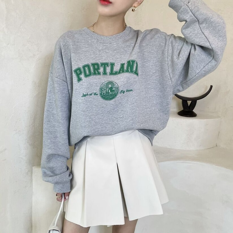 Korean Oversized Hoodies Chic Round Neck Letter Printed Loose Long Sleeve Sweater Crimped High Waist