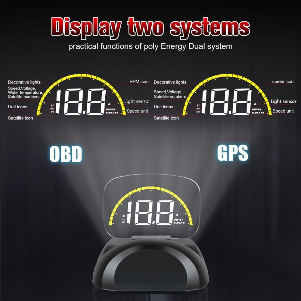 Hud display hd head-up display c700s gps velocímetro a bordo computador obd2 espelho display obd2 projetor frontal eletrônica do carro