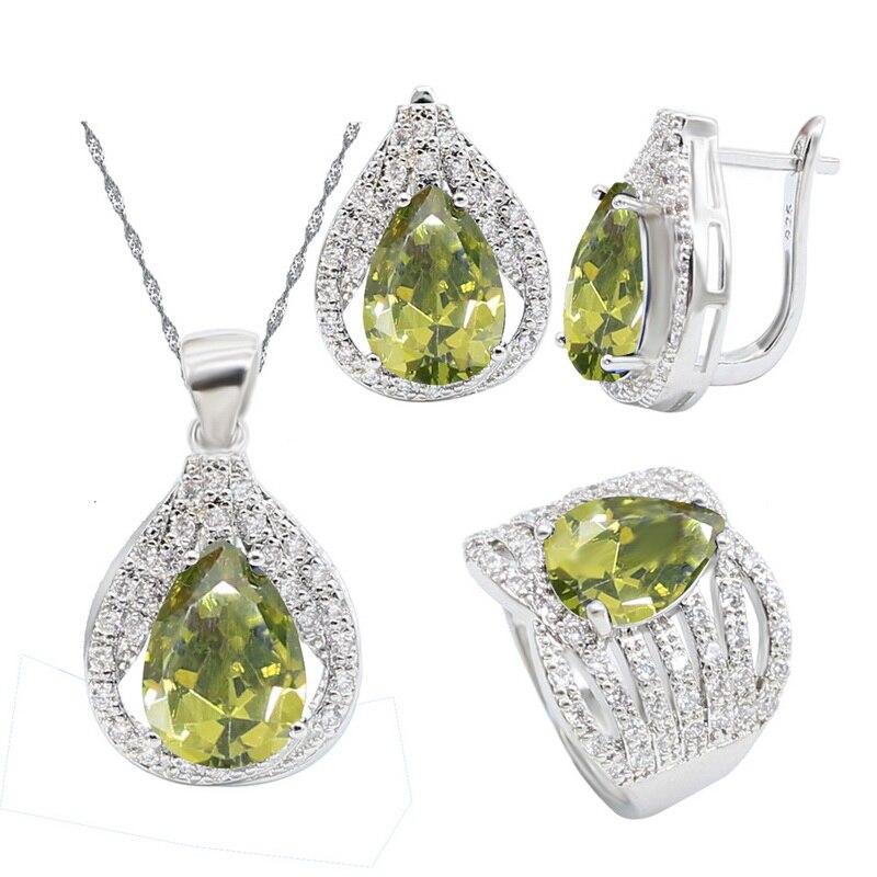 Gota de agua peridoto de aceitunas verdes conjunto de joyería de plata 925 aretes de mujer pendientes anillo COLLAR COLGANTE joyería nupcial