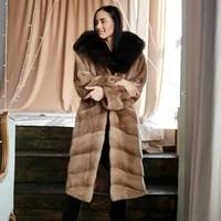 fashion long real mink fur coats for women 2021 winter new full pelt genuine mink fur coat with fox fur hood luxury fur overcoat