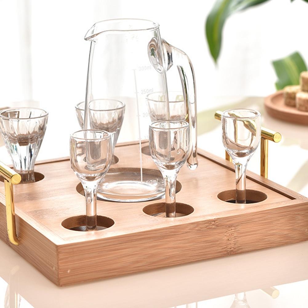 تخدم عرض برواري المنزل كاسات صغيرة رف المطبخ بار مطعم أكواب المنظم علبة خيزران مع مقبض 7 ثقوب