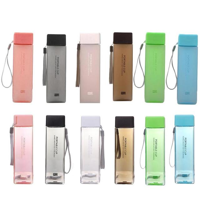 1 pcs 450ml transparent square plastic frosted  cup outdoor cold juice sports  with portable milk rope water cup
